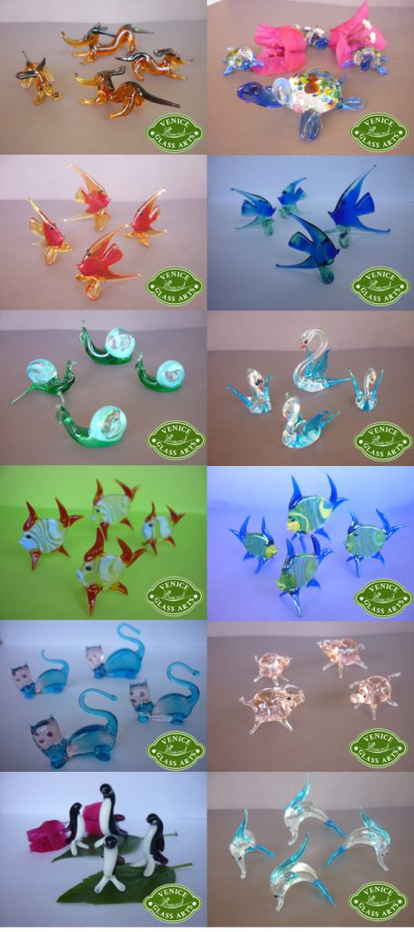Handmade glass animals made in Murano glass