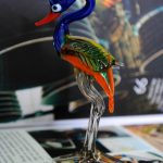 Glass emu figurine handmade in Italy