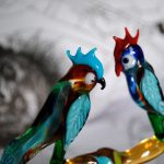 Glass tree with Parrots lampworking