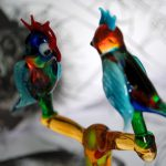 100% handmade glass parrots