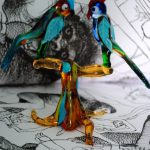 Glass tree with glass parrots in Murano glass