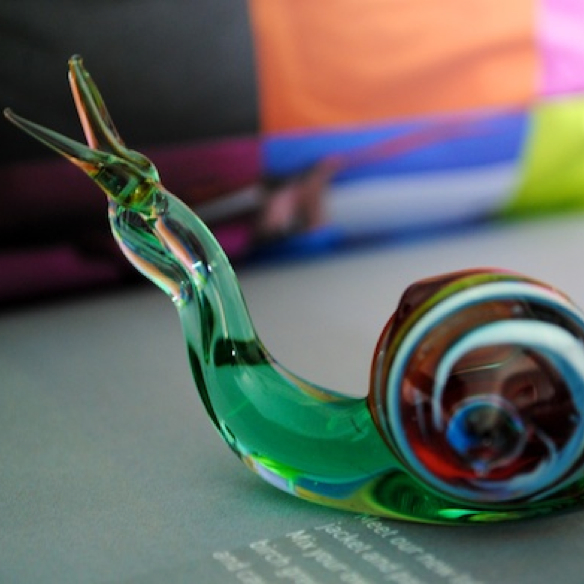 Handmade Glass Green Snail